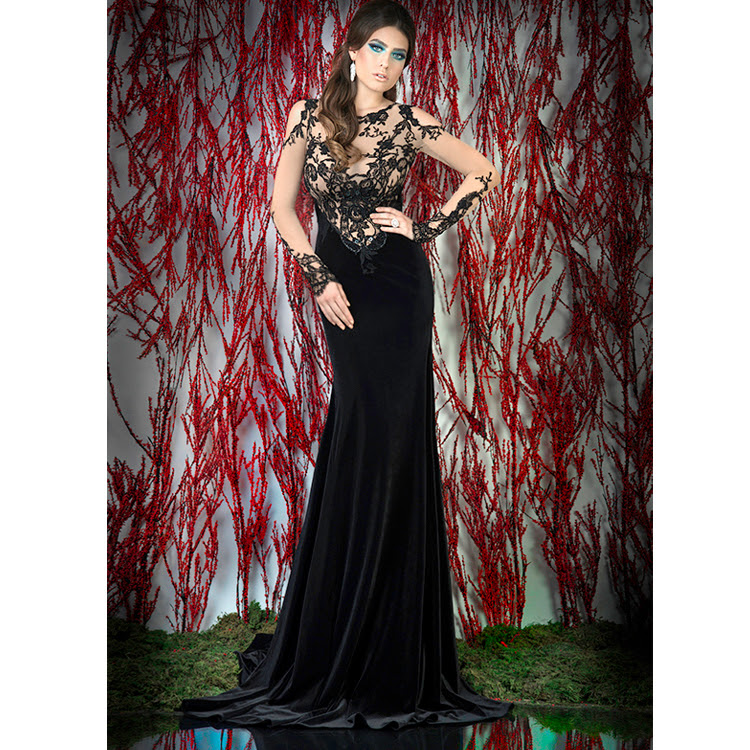 Black velvet and lace evening dress