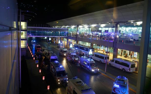 Ambulances arrive at Turkey's largest airport, Istanbul Ataturk, Turkey