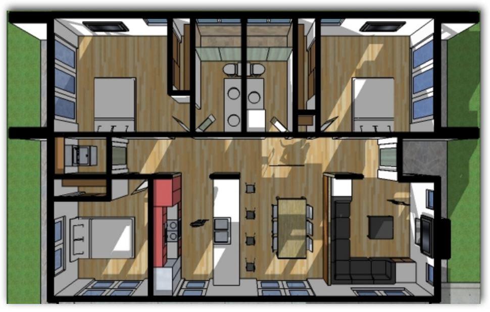 Plano en 3D de Casa de 3 dormitorios