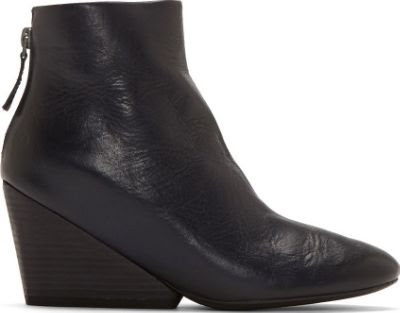 Marsèll Dark Blue Leather Wedge Ankle Boot
