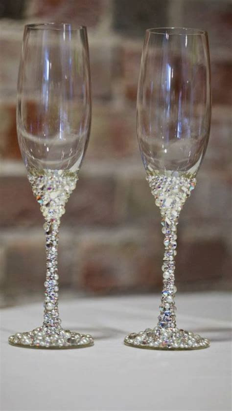 Swarovski crystal champagne glasses   Wedding Timeee