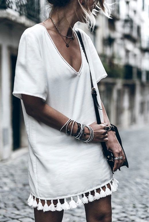 Le Fashion Blog Blogger Style Vacation Look Layered Necklaces Anine Bing White Dress With Tassels Bracelet Stack Small Black Leather Crossbody Bag Via @Mikutas