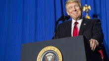 """US President Donald Trump speaks to the staff at the Department of Homeland Security in Washington, DC, on January 25, 2017. Trump vowed to restore """"control"""" of US frontiers as he moved Wednesday to fulfil his pledge to """"build a wall"""" on the Mexican border, signing two immigration-related decrees and sounding a hardline tone. / AFP / NICHOLAS KAMM        (Photo credit should read NICHOLAS KAMM/AFP/Getty Images)"""