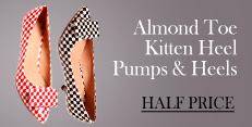 Almond toe Kitten Heel Shoes at Half Price!