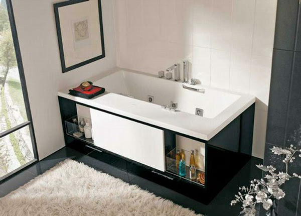 modern bathtub with drawer