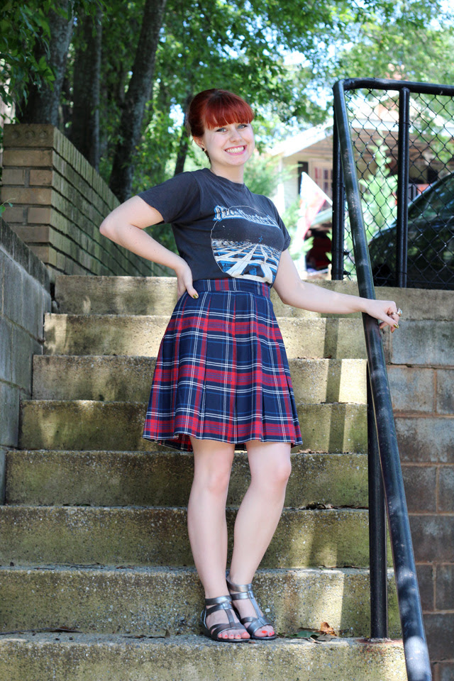 Blue Oyster Cult Vintage 70s Shirt and Plaid Skirt