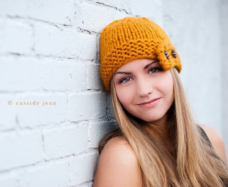 Hand Knit Hat - Cloche Hat in Mustard Yellow