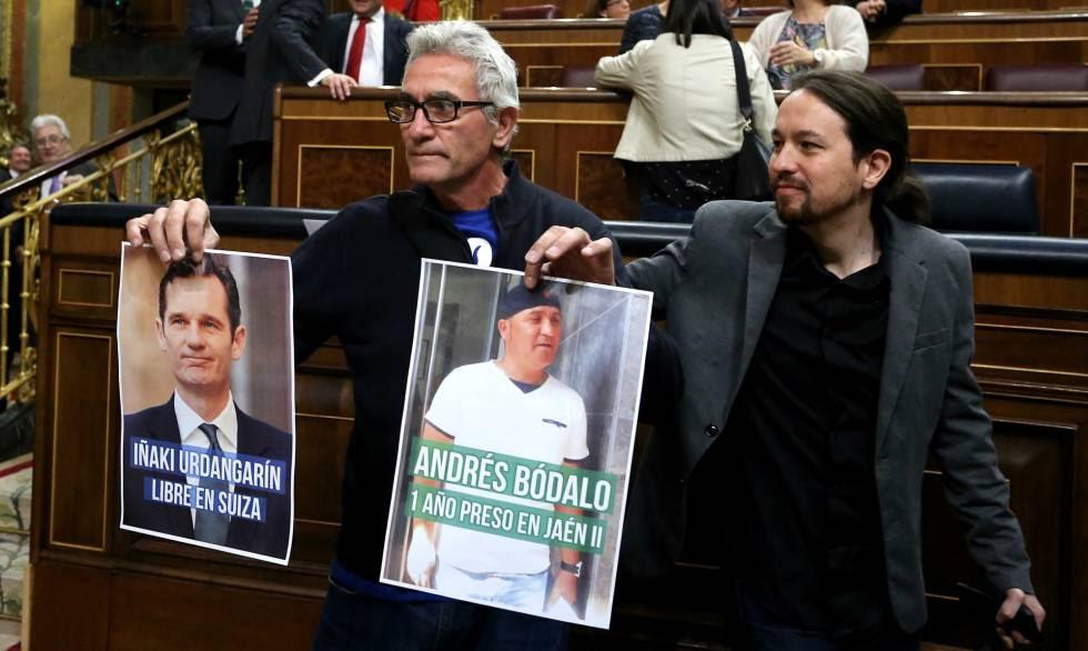 Cañamero y Pablo Iglesias este miércoles en el Congreso.rn