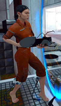 Chell, the player-controlled protagonist, view...