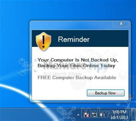 remove reminder  computer   backed  pop  virus