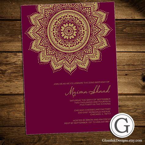 Birthday Celebration Invitation   Traditional Henna