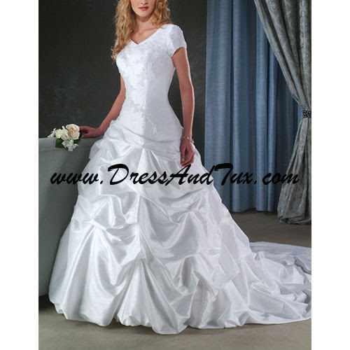V Neck Court Train Short Taffeta Wedding Dresses Odette D14