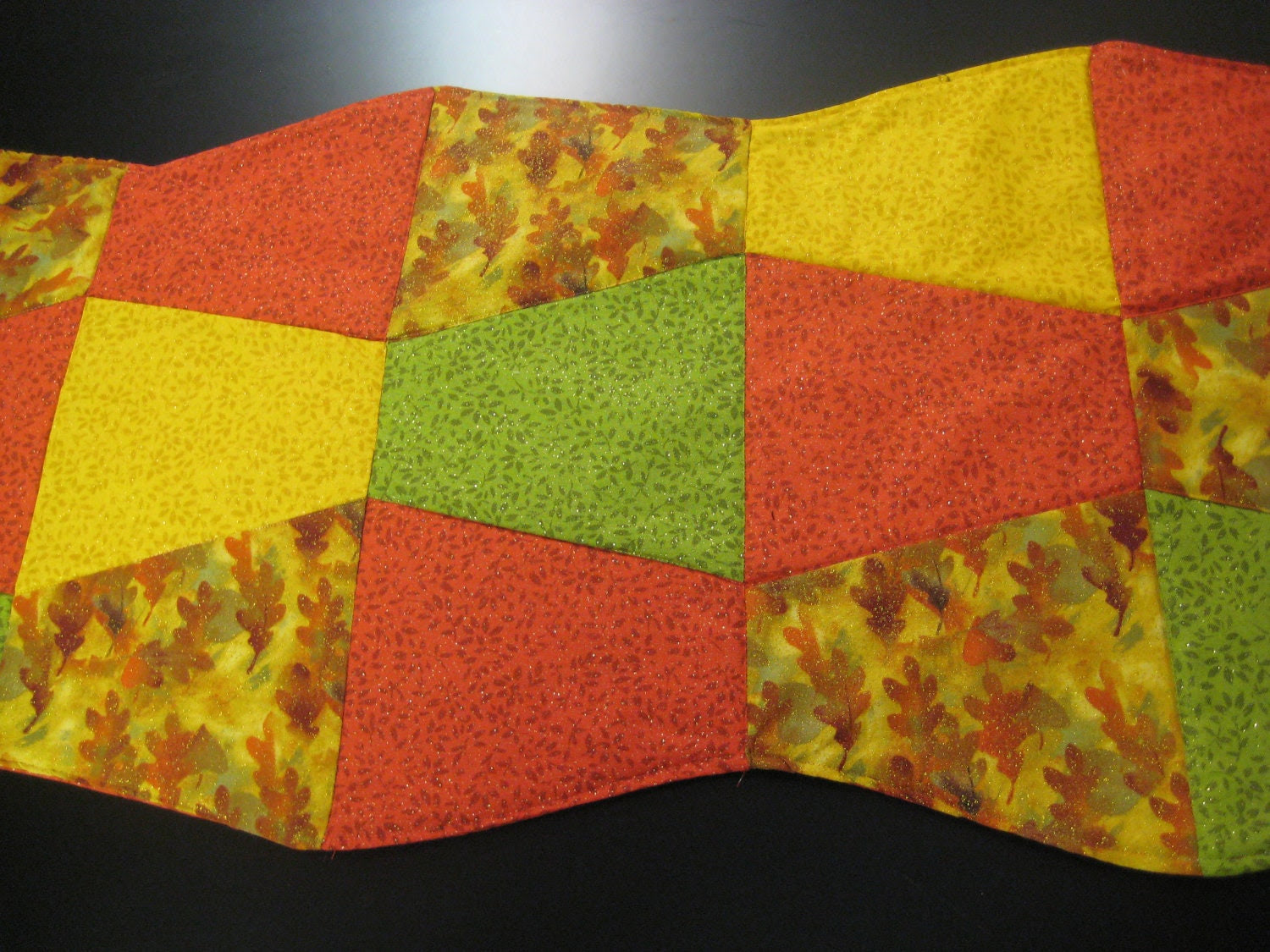 Fall Leaves Tumbling Blocks Quilted Runner - DonnasDoings16
