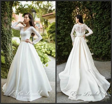 Charming Ivory Satin A Line Wedding Dresses Lorence Lace V