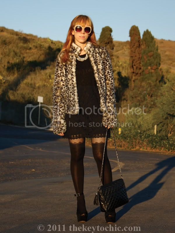 H&M leopard faux fur coat, lace dress, Steve Madden Grettta heels, Los Angeles fashion blog