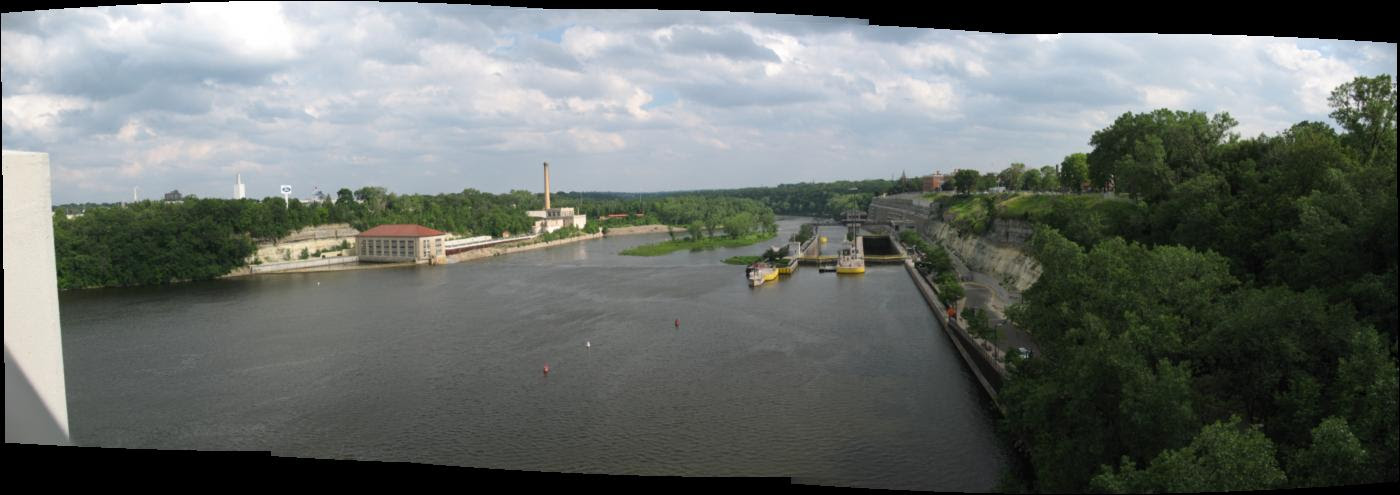 In the distance is Lock and Dam 1 originally constructed in 1917, then reconstructed in 1929 to allow for hydro power to be developed.