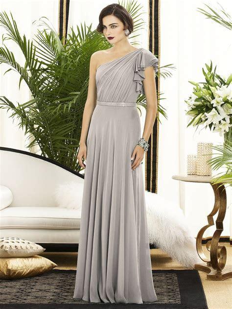 taupe gray off the shoulder chiffon bridesmaid dress
