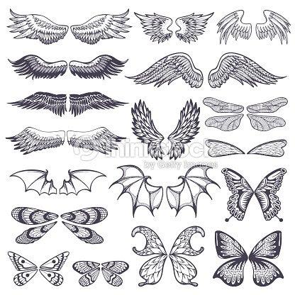 翼ベクトル鳥の翼ケースに飛行翼のある天使と翼イラスト黒羽音タトゥー
