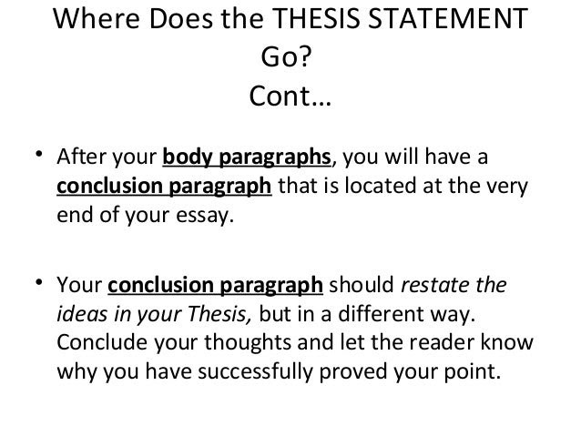 where does the thesis statement go