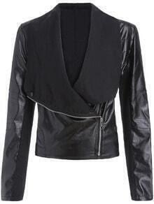 Black Lapel Oblique Zipper Crop Jacket