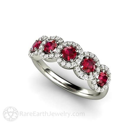 Ruby Band Five Stone Ring with Diamond Halo Round Cut
