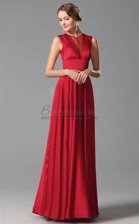 Long Jewel Neck Satin Chiffon Red Empire Waist Bridesmaid