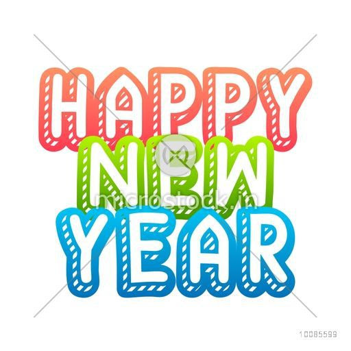 Greeting Card Design With Stylish Text Happy New Year On White