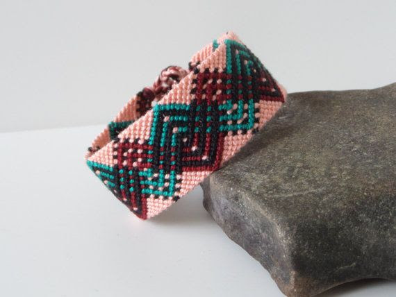 "macrame cuff, wide unisex adult friendship bracelet, friendship cuff bracelet ""double zig zag"", 16,5 cm (6,5 inches)"