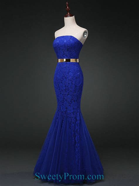 tulle strapless royal blue lace mermaid evening prom