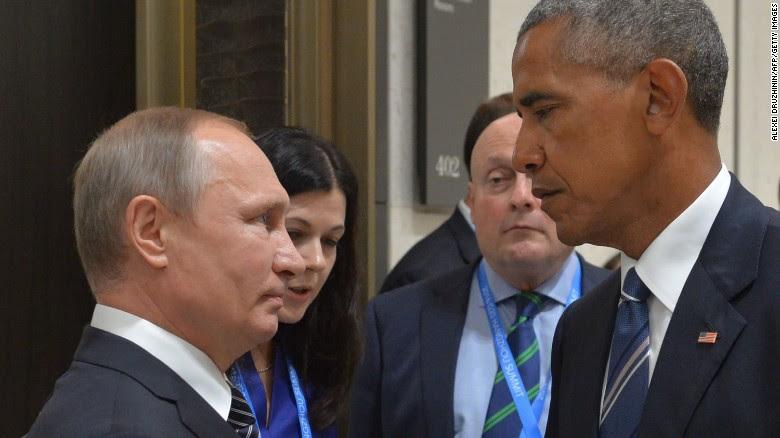 Il presidente russo Vladimir Putin incontra il suo omologo americano Barack Obama a margine del vertice i leader del G20 a Hangzhou il 5 settembre.