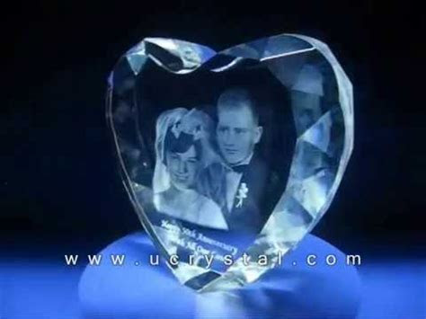 3D engraved crystal heart for wedding anniversary crystal