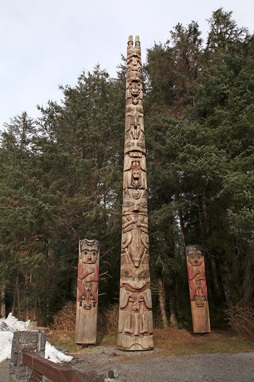 Kasaan totems at the Sitka totem park, Sitka, Alaska