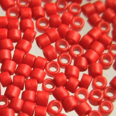 db0795 Delicas - 11/0 Japanese Cylinders - Matte Dyed Opaque Vermillion (7.5 g)