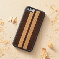 Dark Wood Rosewood Stripes - Wood Grain Look Carved Maple iPhone 6 Bumper Case