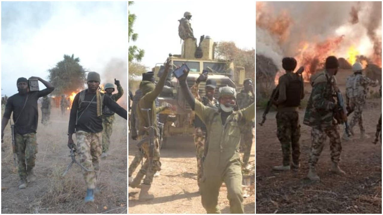 Soldiers celebrate after defeating Boko Haram terrorists