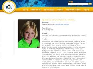 Perfil de Lori Anne Madison no site fo Concurso Nacional de Soletração (Foto: Reprodução)