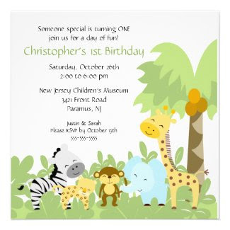 Baby Animal Jungle Birthday Invitation