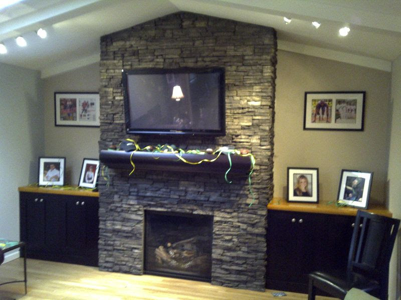 Stacked stone family room fireplace. It's a wrap! - Old School ...