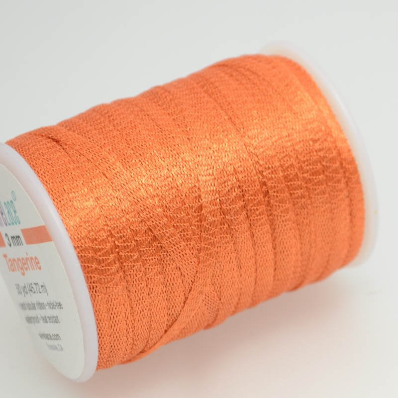 s38774 Stringing - 3 mm Wire Lace Ribbon - Tangerine (Yard)
