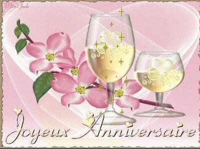 Joyeux Anniversaire Fleurs Et Champagne Anniversaire