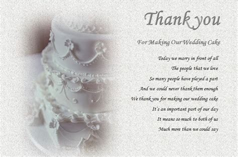 THANK YOU   For making our WEDDING CAKE (laminated gift