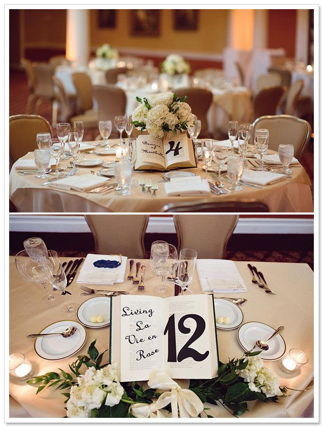 Books as table placements with quotes!