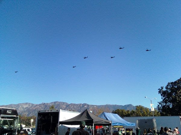 Several U.S. Army Black Hawk helicopters fly over the city of Pasadena, on December 16, 2011.