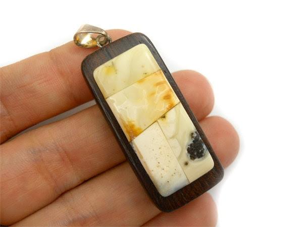 Amber & Wood - natural organic pendant - unique 40x18mm