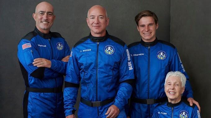 Jeff Bezos rockets into space on Blue Origin first astronaut flight