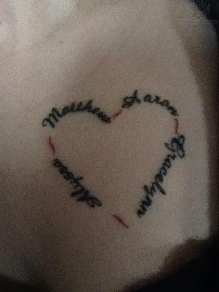 Tattoo Designs With Kids Heart Tattoo Design Cute Mom Kids Name