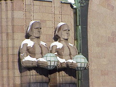 Statues outside Helsinki Railway Station by Emil Wikstrom