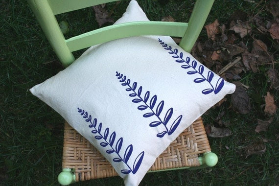 Fern Pillow. Purple on Natural Canvas. Screen Print.