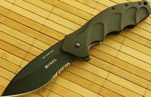 "Columbia River Ken Onion Foresight Folding 3.5"" AUS 8 Black Combo Blade, Aluminum Handles"