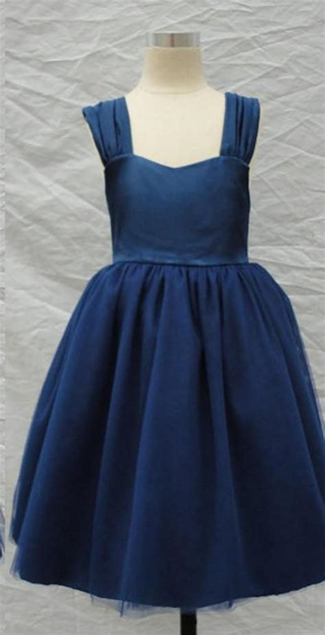 2015 Navy Blue Flower Girl Dresses A Line Straps Backless